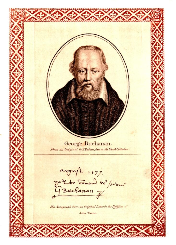 A reproduced engraving of George Buchanan above a reproduction of his written signature