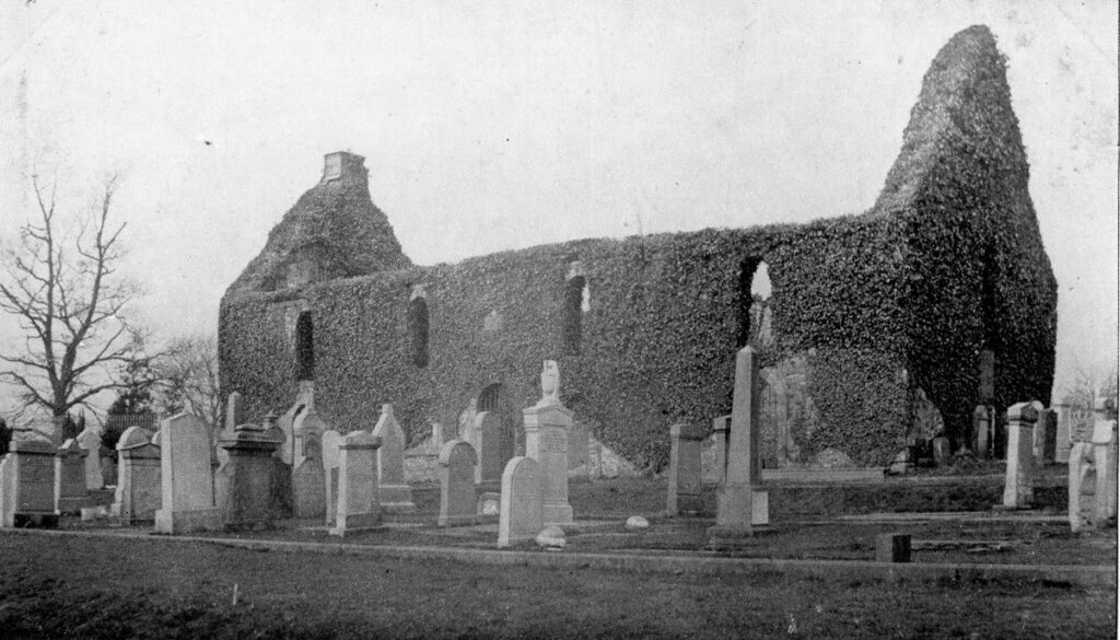 View of Killearn old kirk through the cemetary, with
