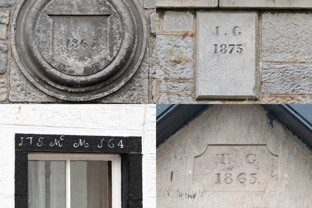 Building dates engraved and painted on houses in Killearn