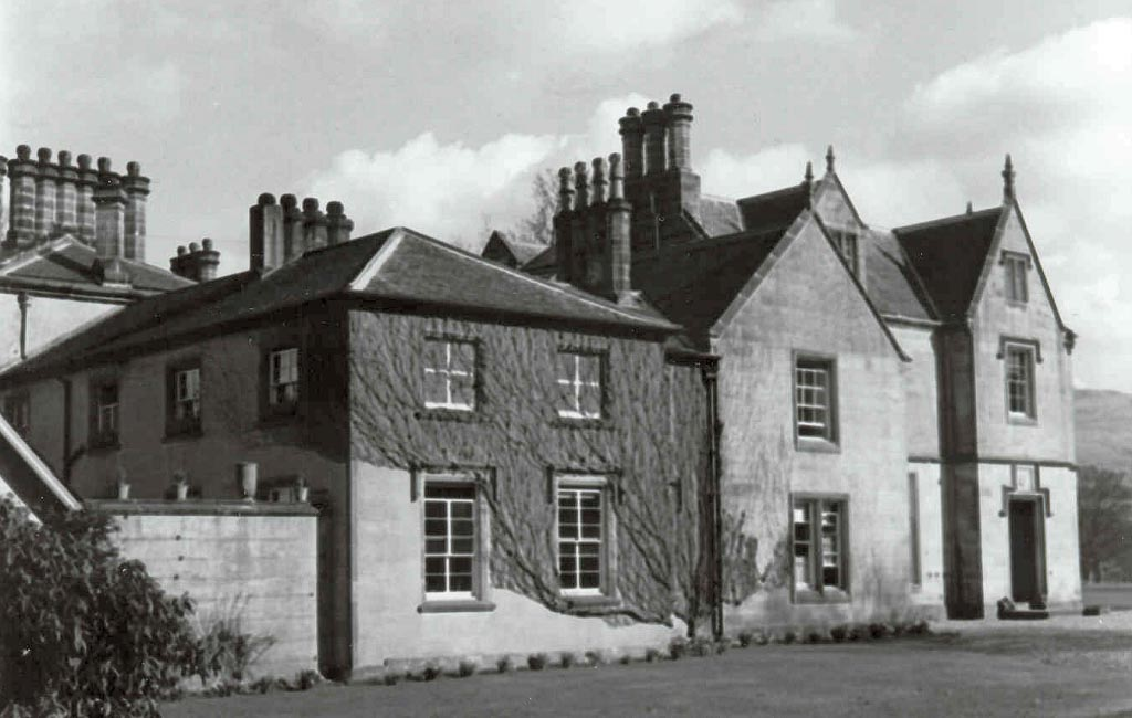 Black and white photo of a grand Killearn house