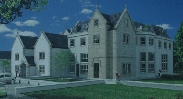 Plan for a large cream and stone modern looking house.
