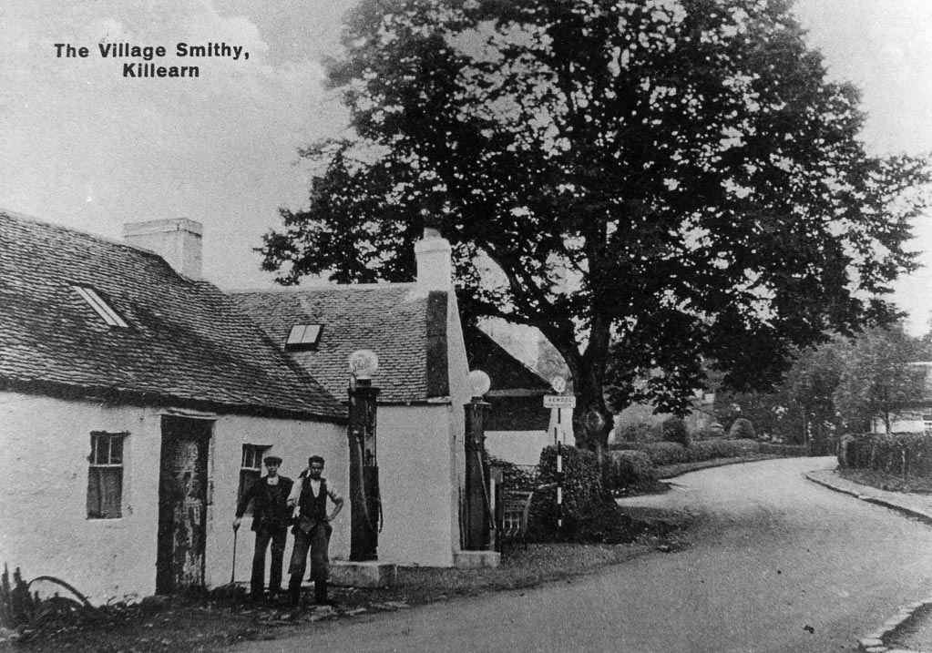 """Black and white photo of 'Village Smithy"""" and petrol station in Killearn"""