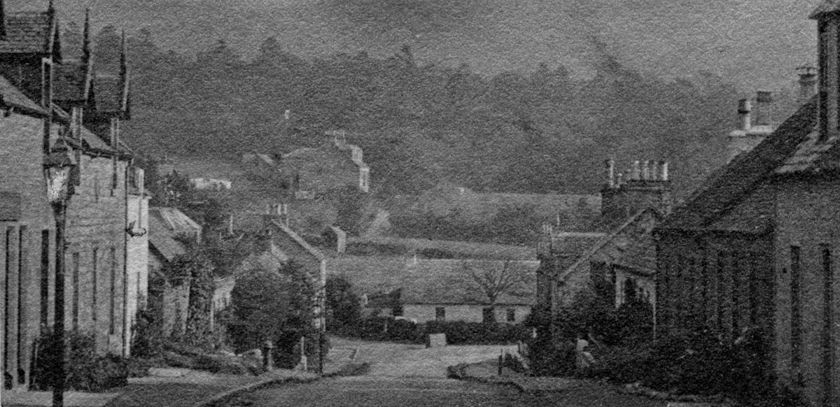 Black and white grainy photo of the Main Street in Killearn