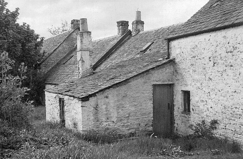 A black and white photo of the back of houses